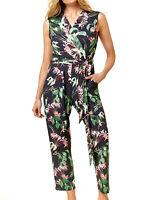 Women's Size 10,12,14,16,18 Black Tropical Print Wrap Jumpsuit RRP £48.00 (b11)