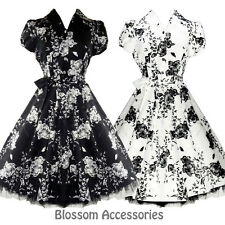 RKH1 Hearts & Roses Rockabilly Tea Shirt Dress Black White Floral 50s Retro Plus