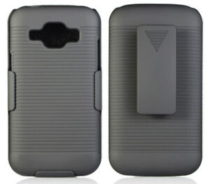 BLACK HARD CASE COVER + BELT CLIP HOLSTER FOR CRICKET SAMSUNG GALAXY AMP-2 J120A