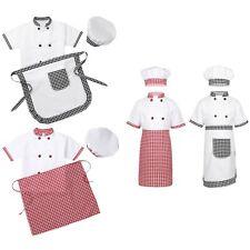 3/4Pcs Unisex Kid Boys Girls Chef Costume Coat+Apron+Hat Kitchen Cooking Uniform