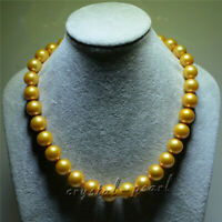 """AAAAA 18"""" 9-10mm REAL NATURAL round south sea GOLDEN pearl necklace 14K gold"""