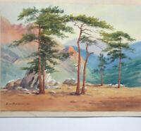PAYSAGE DE MONTAGNE ORIENTALISME Aquarelle Gouache signée ZM François datée 1937