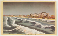 Jacksonville Beach, FL Postcard View of Ocean and Amusement Park Vintage Old