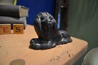 Late 19th Century Solid Metal Figure Of Lion With Original Black Paint Doorstop