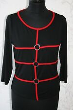 FEEL GOOD PARIS Black with Red Lines Top S-M/UK10-12 Stretch 3/4 Sleeves Viscose