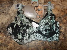 Women's Size 38B Secret Treasures Brand Sheer Lace Black & Mint Underwire Bra