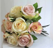 ARTIFICIAL SILK FLOWERS PRETTY PINK CREAM ROSE BUNCH BOUQUET WEDDING VINTAGE