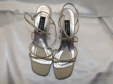 Stuart Weitzman Gold Satin Strappy Heels 4 inch size 9 B Evening