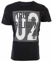 TRUE RELIGION Mens T-Shirt TEXT ART GRAPHIC Black Charcoal Grey $69 Jeans NWT