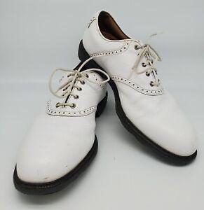 FOOTJOY Men's 10N Golf Shoes, Icon Style 52005, Classic White Leather FJ NARROW