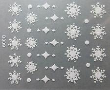 Accessoire ongles, nail art , Stickers noël : flocons de neige et étoiles blancs