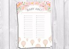 Baby Shower Game, baby ABC, montgolfière, vintage floral, bébé fille