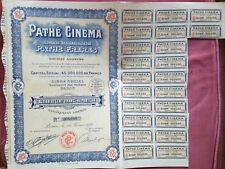 TITOLI CERTIFICATI AZIONARI PATHE CINEMA 1924