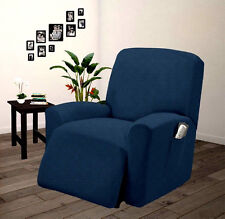 Pique Stretch Form Fit Furniture Chair Recliner Lazy Boy Cover Slipcover - Blue
