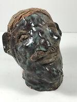 "Vintage Folk Art Bust 6"" Head man w/ Mustache pottery clay VTG sculpture"