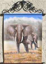 "Elephants, Oil Painting Tapestry with Rods 57x43.5"" FREE SHIPPING"