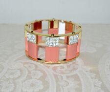 NWT $280 Lele Sadoughi Tall Stackable Bracelet Flamingo Pink and Crystal SML