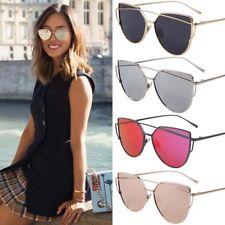 Oversized Vintage Mirrored Cat Eye Sunglasses Metal Frame Glasses Retro Women AU
