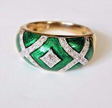Diamond Green Enamel in 14k Yellow gold ring.