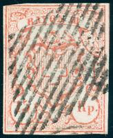 SCHWEIZ 1852, Rayon III, MiNr. 10, Plattenfehler, Attest Hermann, Mi. 650,-+++