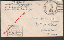 Idle Gossip Sinks Ships WWII censor cover Pfc George Haule APO 512 Algiers