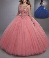 Coral Royal Blue Ball Gown Quinceanera Dress Cheap Sweet 16 Dress Crystals Beads