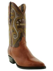 Mens Leather Cowboy Western Boots Cognac Genuine Lizard Skin Exotic J Toe