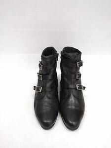 Size 40 Vintage Ladies Black Soft Leather Buckle straps Grunge Rock Ankle boots