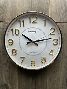 """13"""" Round Wall Clock Silent Non Ticking Quartz Operated Home Decor Rose Gold"""