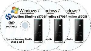 HP Pavilion Slimline s5705f Factory Recovery Media 3-Discs Windows 7 Home 64-bit
