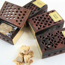 Amber Brown 3 Stk Amberstein   Natur Duft Kristalle  Holz Box  Parfum Set Indien