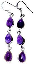 925 Sterling SILVER Purple AMETHYST Gem,Dangle Earring Earrings NEW Jewellery