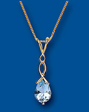 "Yellow Gold Blue Topaz Pendant Twist Design Hallmarked 18"" Chain British Made"