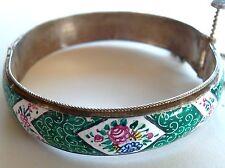 Sterling Victorian Enamel Green Handpainted Birds&Flowers Bracelet Estate Jewelr
