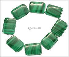 8 Natural Malachite Flat Rectangle Beads 13x18mm Grade A #73059