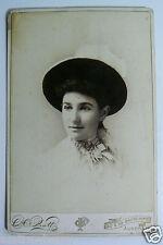 Antique Vintage Cabinet Photo Portrait Victorian Elegant Young Lady Woman in Hat