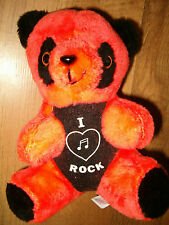 Orange & Black I Love Rock Teddy Bear Stuffed Animal