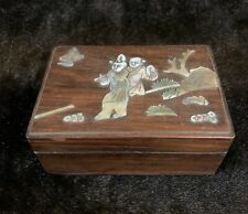 Old Chinese Antique Wood Box Mother of Pearl Scene #6