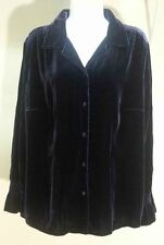 NWT $59.99 August Max Woman Elegant Navy Blue Solid Velure Blouse Size: XS