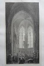 Chapelle ST SEPULCRE église CAUDEBEC LITHOGRAPHIE originale ENGELMANN XIXéme
