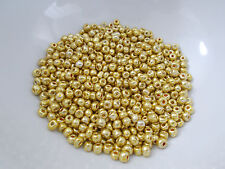 30g 4mm 6/0 Glass Seed Beads - Electroplate Metallic Gold Plated