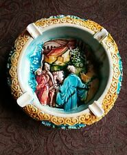 Asian hand carved hand painted soap stone ashtray