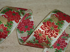 Poinsettia Wired Vintage Style Christmas Ribbon Cakes Wreaths Decoration 1metre