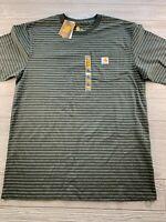 Carhartt Shirt Mens Size L Tall Striped Crew Neck Short Sleeve Original Fit New