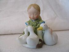 Holly Hobbie Little Things Series IV miniature figurine girl with geese / ducks