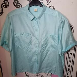 Size 18 Vintage Miss Astor Green 100% SILK Semi Sheer Blouse Shirt Shoulder Pads