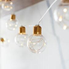 10er LED Kugel Lichterkette Micro LEDs Retro Lichter Batterie Timer Deko Innen