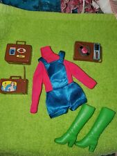Vintage Mod Talking Busy Barbie #1195 Blue Satin Shorts Overalls Green Boots