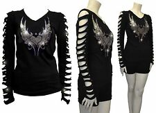 Bling Bling Angel Wings,Hearts Rhinestone Shirt Ripped Slit Cut Out T-Shirt 2XL