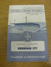 26/08/1961 Sheffield Wednesday v Birmingham City  (folded, pin hole, slight rust